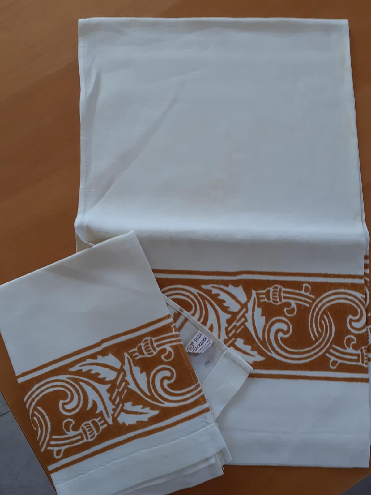 <B style='color:red'>SOLO BOLOGNA E PROVINCIA</B> - Set Ruggine bagno eleganti, stampati a mano Pascucci - asciugamano grande 70x110 asciugamano piccolo 45x65