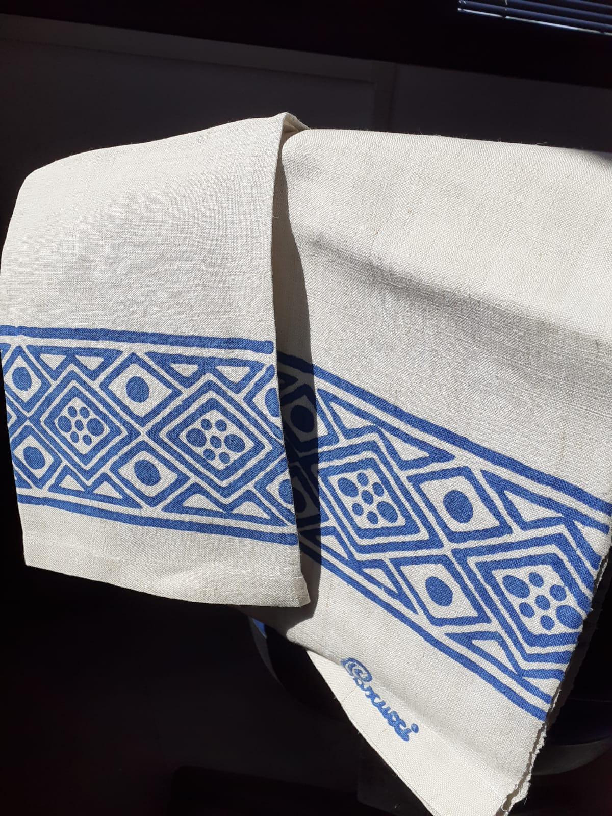 <B style='color:red'>SOLO BOLOGNA E PROVINCIA</B> - Set Blu bagno eleganti, stampati a mano Pascucci - asciugamano grande 70x110 asciugamano piccolo 45x65