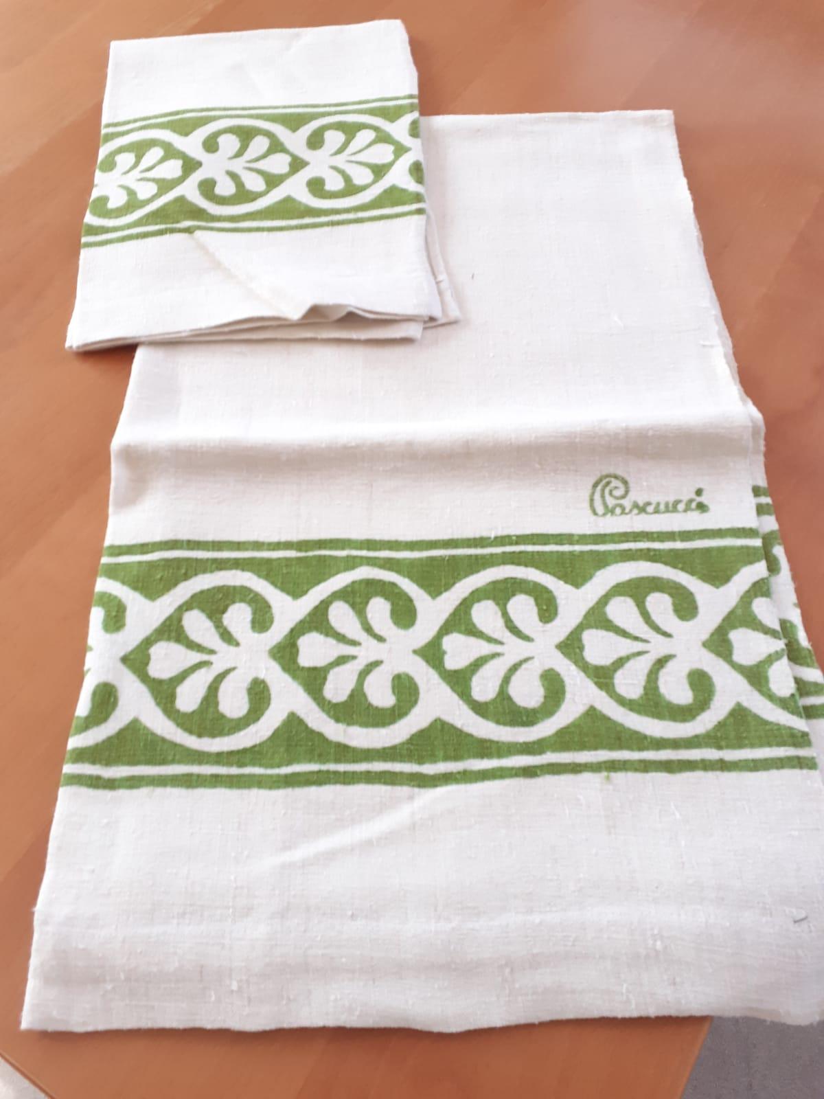 <B style='color:red'>SOLO BOLOGNA E PROVINCIA</B> - Set Verde bagno eleganti, stampati a mano Pascucci - asciugamano grande 70x110 asciugamano piccolo 45x65