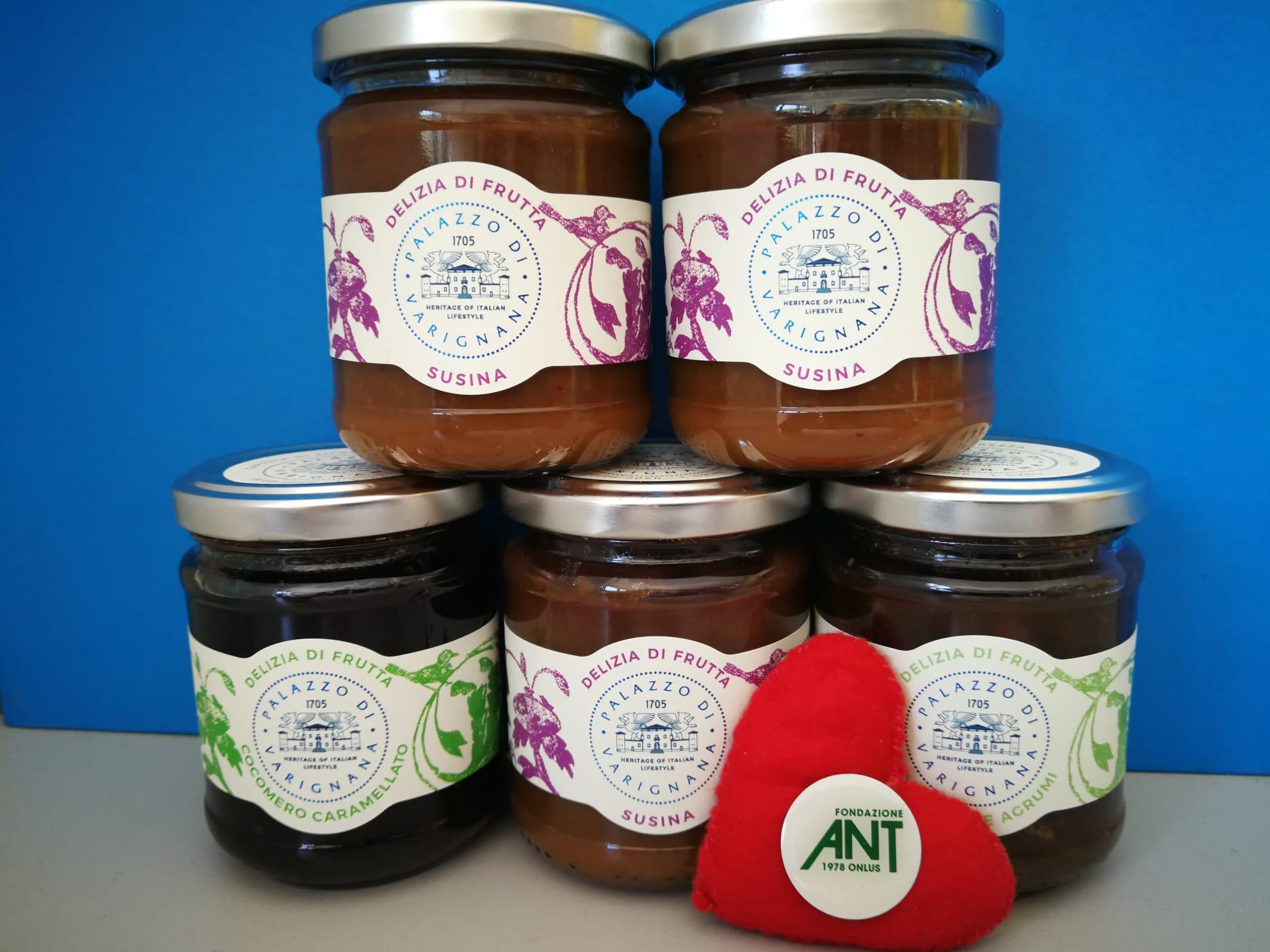 <B style='color:red'>SOLO BOLOGNA E PROVINCIA</B> - Confetture di frutta ESCLUSIVE Palazzo di Varignana - 5 vasetti 200 gr. cad. gusti assortiti - Cocomero caramellato, Susina, Cocomero agrumi -