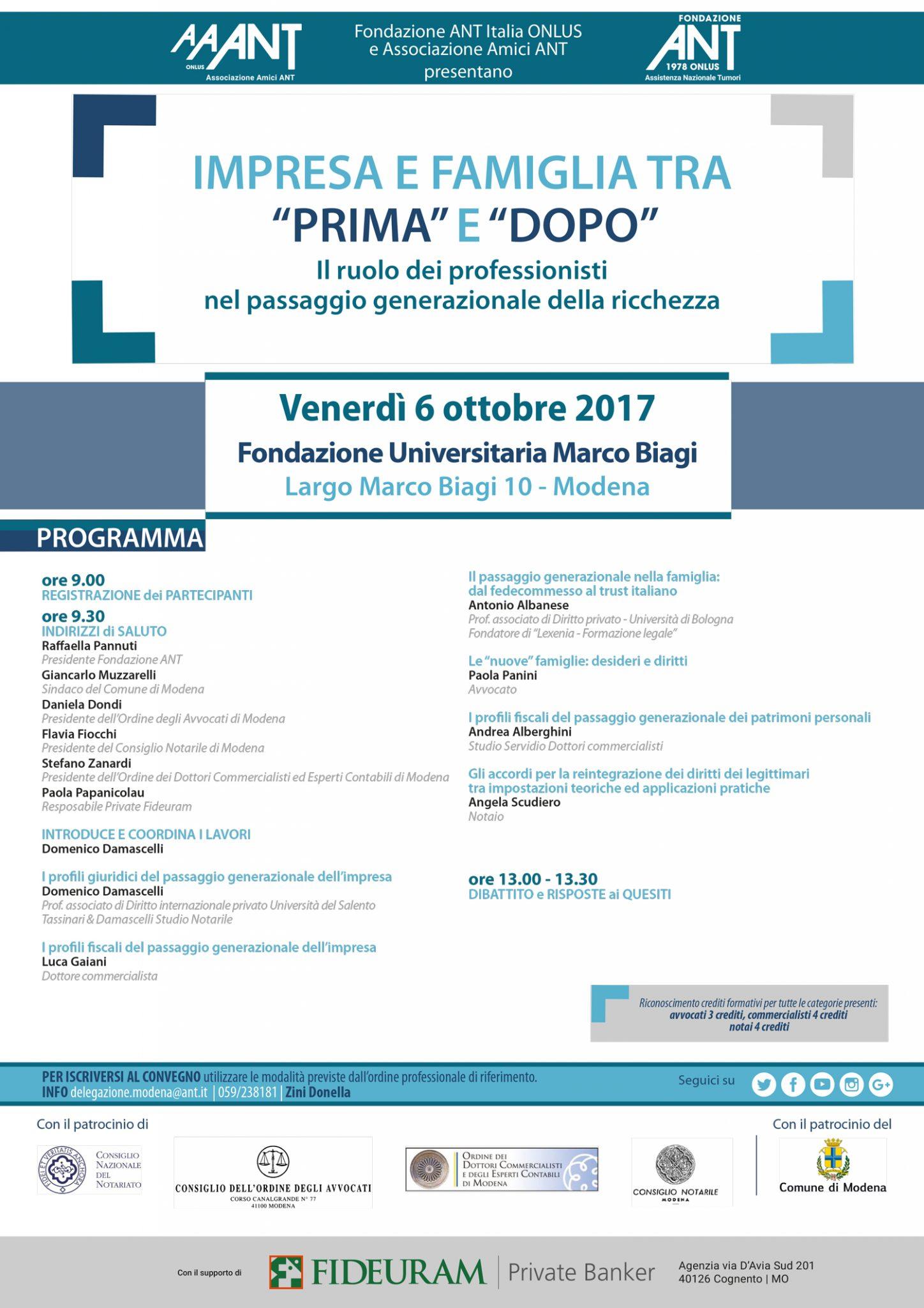 Convegno, Impresa e famiglia tra prima e dopo - Modena