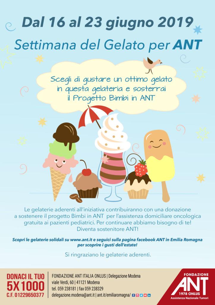 Settimana del gelato pro-ANT  – Modena e provincia
