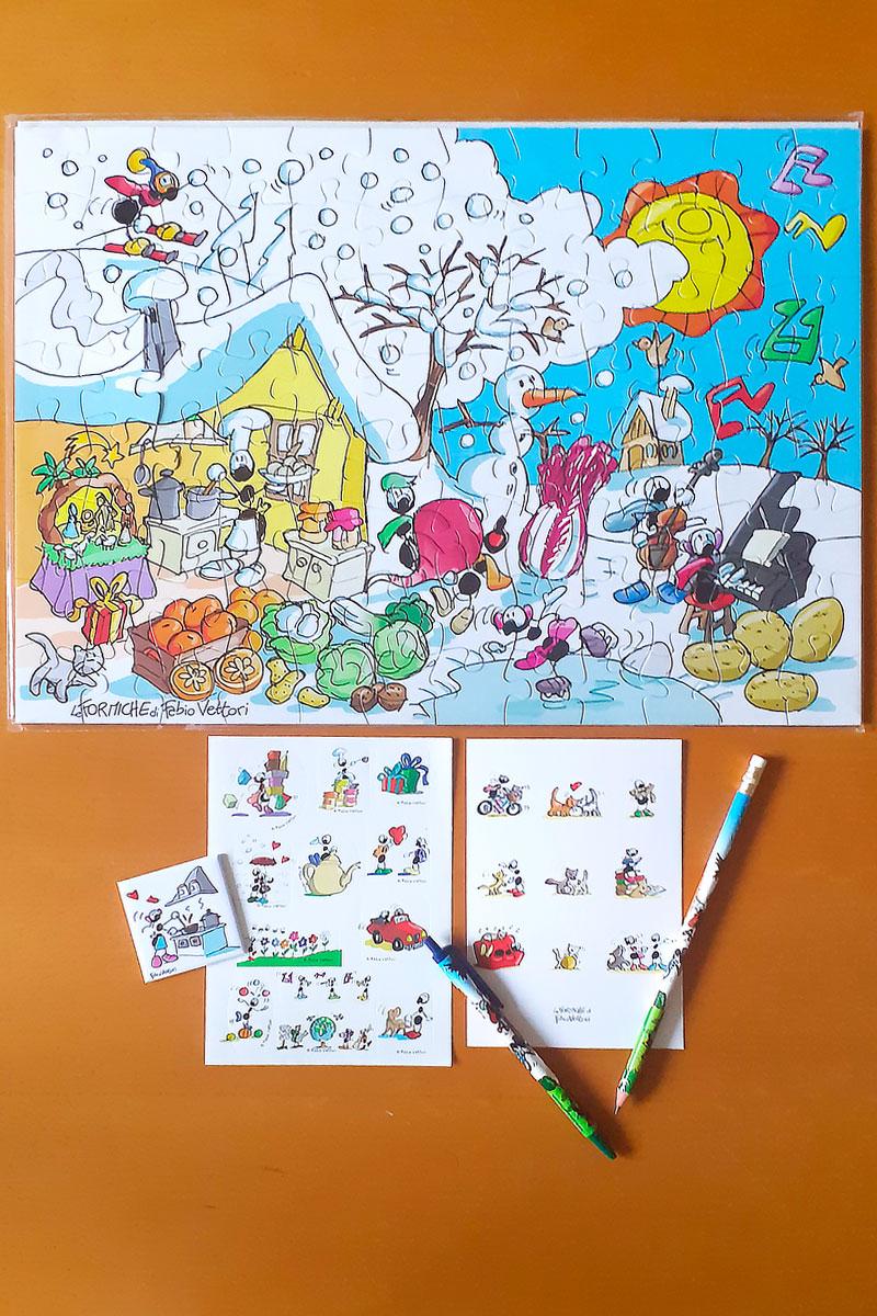 KIT PUZZLE PER BIMBO CON PENNA E MATITA + OMAGGI   <B style='color:#ff0000'>SOLO BOLOGNA E PROVINCIA</B>